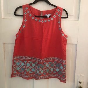 NWT Escapada Living Coral Embroidered Bethany Top